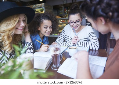 Group of students preparing for exams