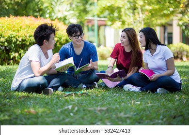 Group of students sharing with the ideas on the campus lawn