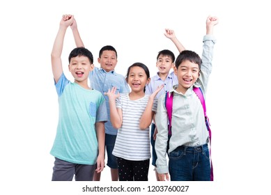 Group of students standing and smile over white background