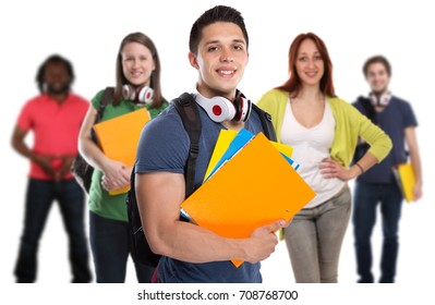 Group of students student young smiling people isolated on a white background