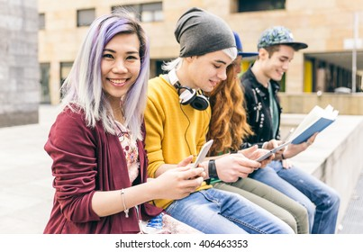 Group of students studying together in an urban area