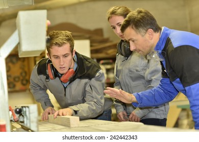 Group of students in woodwork training course