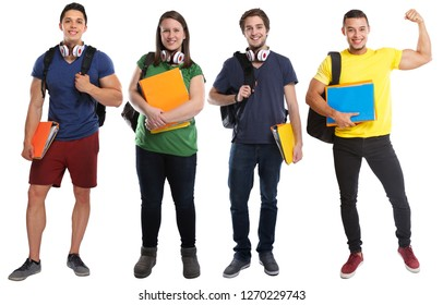 Group of students young success successful strong power people isolated on a white background