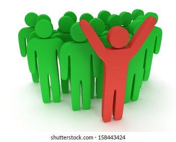Group of stylized green people and red teamleader with hands up stand on white. Isolated 3d render icon. Teamwork, business concept.