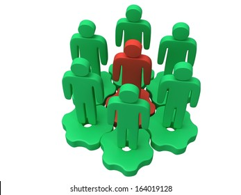 Group of stylized green people stand on gears with red team leader white. Isolated 3d render icon. Teamwork, business concept.