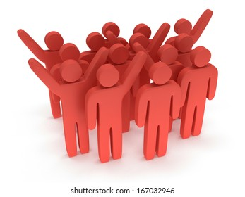 Group of stylized red people stand on white. Isolated 3d render icon. Teamwork, business, crowd concept.