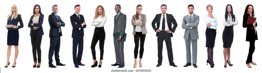 group of successful business people isolated on white