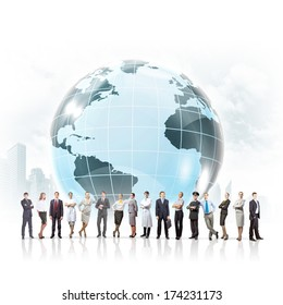Group of successful confident businesspeople. Globalization concept
