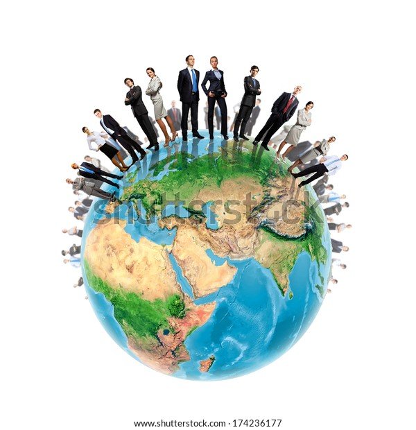Group of successful confident businesspeople. Globalization concept. Elements of this image are furnished by NASA