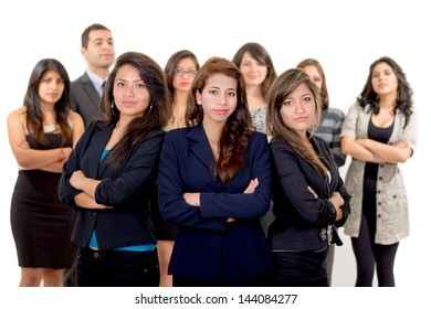 Group of successful hispanic business people