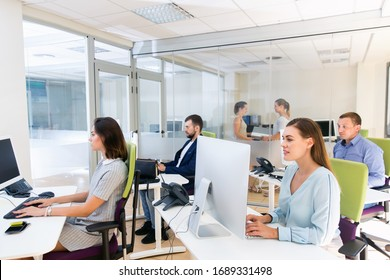 Group of successful  smiling  business people during daily work in modern co-working space