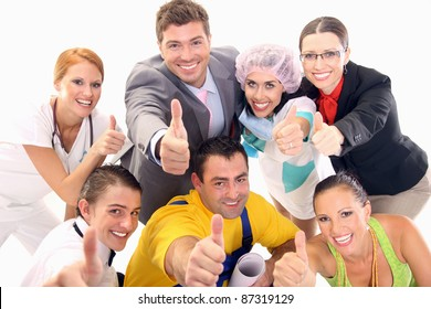 A group of successful workers