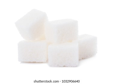 Group of sugar cubes isolated on white background