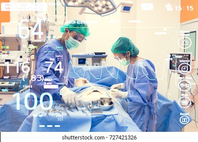 Group of surgeons operating in operation room with heart beat rate background. Group of medical surgeons team using surgical equipment and performing operation patient in emergency room at hospital.