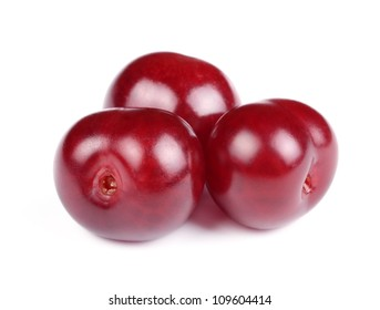 Group of Sweet Fresh Cherries Isolated on White Background