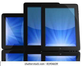 Group of Tablet Computers with blue screen isolated on white