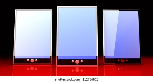 A group of Tablet PCs / Pads. 3D rendered illustration.