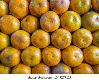 Group of tangerines on the market