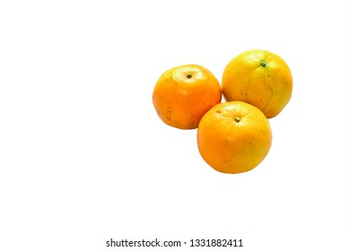 Group of Tangerines on White Background