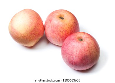 Group of tasty fudgie apples isolated on white background