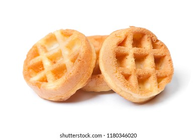 Group of tasty round mini waffles isolated on white background