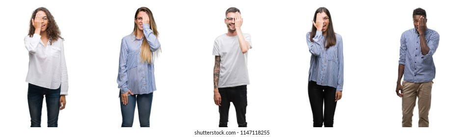 Group and team of young business people over isolated white background covering one eye with hand with confident smile on face and surprise emotion.