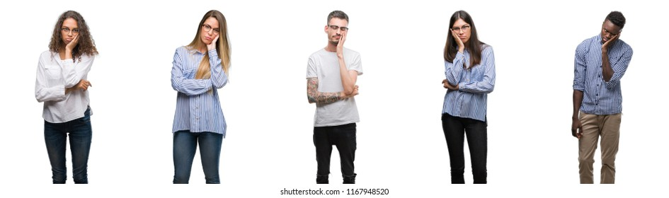 Group and team of young business people over isolated white background thinking looking tired and bored with depression problems with crossed arms.