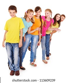 Group of teen people. Isolated.