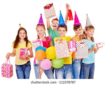 Group of teen people in party hat. Isolated.