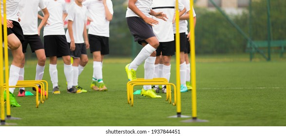 Group of teenage boys on physical education class on outdoor grass venue. School kids in two rows competing and running through obstacle course. Football training unit with hurdles and poles