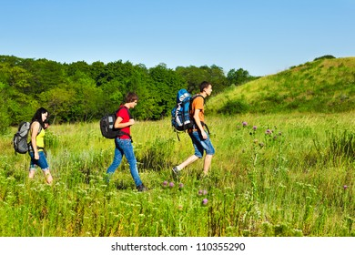 Group of teenage friends with backpacks hiking