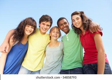 Happy Teenagers Group Friends Boys Girls Images Stock Photos Vectors Shutterstock