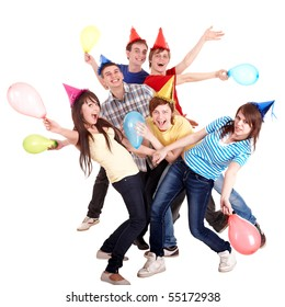 Group of teenage in party hat and balloon. Isolated.