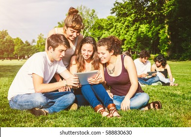 Group of teenage people sitting on grass and using digital tablet in sunny day