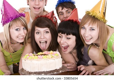 Group of teenagers celebrate happy birthday. Isolated.