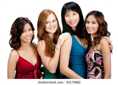 A group of teenagers with diverse ethnicities against white background