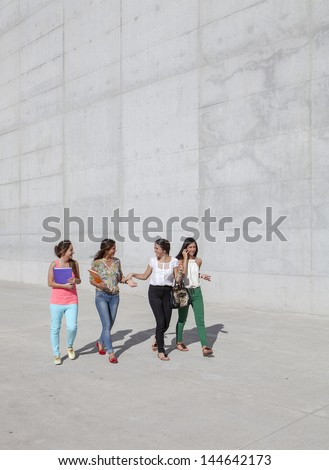 group of teenagers having fun walking on the street