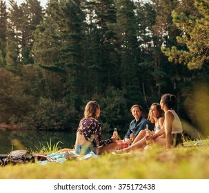 Group of teenagers having a picnic on the lake. Young friends sitting together with beers near a lake. Young friends enjoying picnic at the lake.