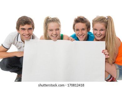The group of teenagers holds an empty leaf
