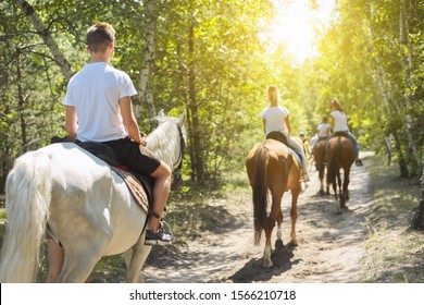 Group of teenagers on horseback riding in summer park, back view