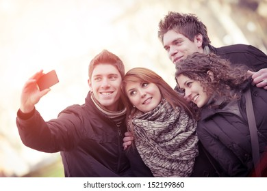 Group of teenagers posing for a photograph,Italy