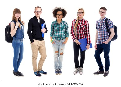 group of teenagers or students standing isolated on white background