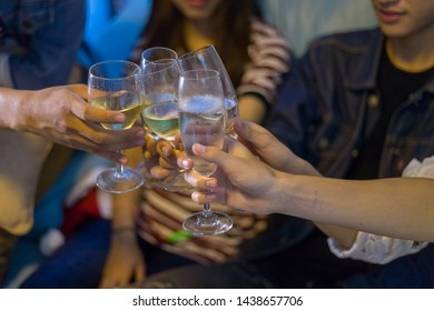 Group of teens asian is celebrate the christmas and happy new year party