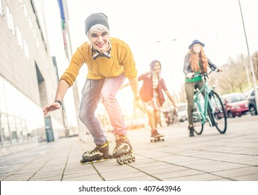 Group of teens making activities in an urban area, Concept about youth and friendship - Young friends having fun outdoors