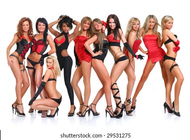 Group of ten beautiful young women poses in front of the chamber in full growth, isolated on a white background, please see some of my other parts of a body images: