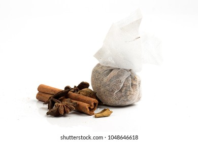 Group of Thai Seasonning , Cinnamon and Star Anise on white background.