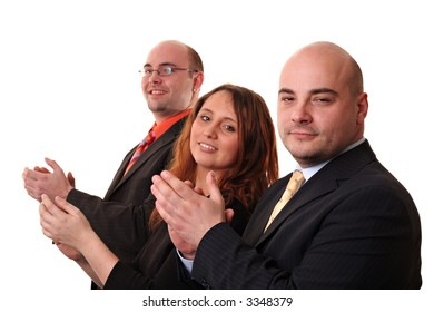 A group of three applauding, isolated on a white background. Looking at the camera