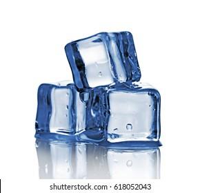 Group of three blue wet ice cube isolated on white background