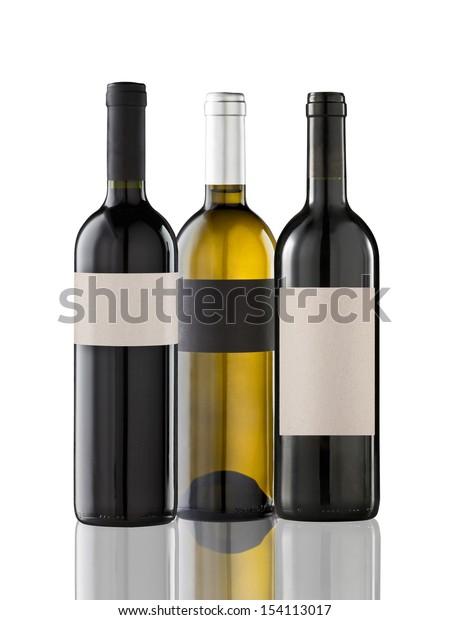 Group of three bottles on white