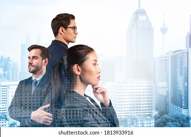 Group of three business colleagues in suits dreaming about new career opportunities after MBA graduation. Concept of multinational corporate team. Kuala Lumpur on background. Double exposure.